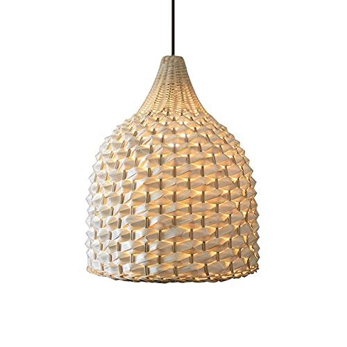 wangch Candelabro de bambú de Simplicidad Moderna, Pantalla de ratán, luz Colgante de ratán de una Sola Cabeza Creativa E27, Sala de Estar, Comedor, iluminación de Bar, lámpara Colgante de decoración