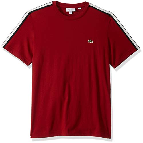 Lacoste Mens Short Sleeve Jersey Striped Sleeve T-Shirt T-Shirt, Alizarin Red, M