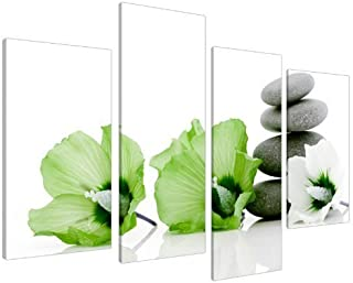 Large Lime Green and White Floral Lily Canvas Wall Art Pictures - Split Set 4 - Big Modern Flower Prints - Multi Panel Artwork - XL - 130cm Wide