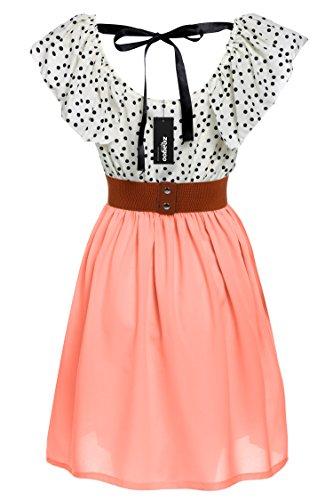 Zeagoo Damen Vintage Sommerkleid Punkt Partykleid Polka Dots O-Ausschnitt Minikleid mit Gürtel - 2
