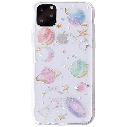 YTanazing Space Case Compatible iPhone 11 Pro, Bling Glitter Space Planet Sparkle Stars Moon Cosmos Outter Space Soft Flexible TPU Silicon Case for Apple iPhone 11 Pro 5.8 inch