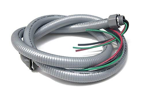 Sealproof Power Whip Assembly, 3/4-Inch x 6 Ft Nonmetallic Liquid Tight Flexible Electrical Conduit and 8 Gauge Wire Single Phase Preassembled A/C Hook-up Whip Kit, 3/4' Dia