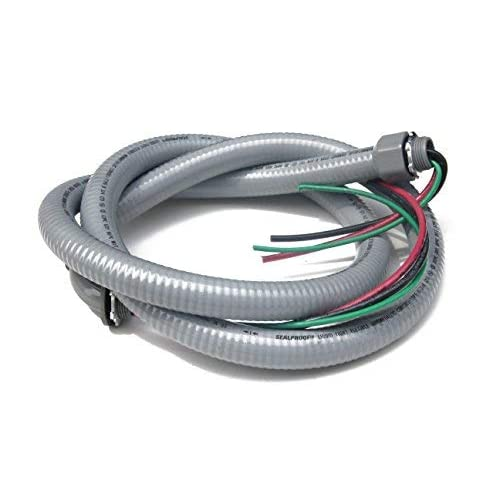 "4/' Long 3//4/"" Metal Fitting Flexible Outdoor Conduit Electrical 3 Wire 8 Gauge"