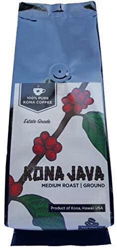 Kona Coffee by Kona Java - 100% Kona Coffee, Not a Blend - Kona Coffee Ground Medium Roast - Grown on Real Hawaii Volcanic Soil and Freshly Roasted - 7 oz. bag