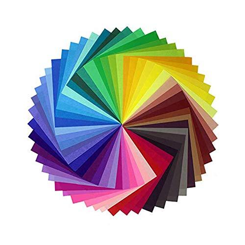 Vikenner 50 Piezas Papel Cuadrado de Origami Papel de 50 colores Plegado Papel para Papiroflexia Hecho a Mano para proyectos de Manualidades Doble cara Cuadrado Papel - 10 * 10cm- Color Aleatorio