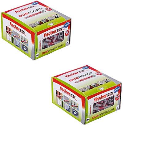 fischer DUOPOWER 6 x 50, Universaldübel, leistungsstarker 2-Komponenten-Dübel, Kunststoffdübel zur Befestigung in Beton, Ziegeln, Stein, Gipskarton uvm, ohne Schrauben, 100 Stück - 2 Pack