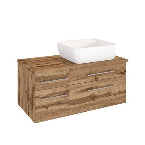 Pharao24 Waschtischkonsole im Wildeiche Dekor Aufsatz-Waschbecken