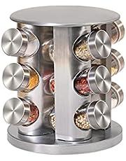 回転式スパイスボトルホルダー スパイスラック12ジャー調味料スタンド スパイス収納 省スペース 調味料入れ スパイスケース 砂糖 塩入れ キッチンラック おしゃれでスタイリッシュ