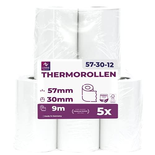 Papel térmico 57mm x 9m x 12mm - Ideal para máquinas de tarjetas de Crédito - Rollos ideal para todos los TPV y las impresora térmica - (57x30x12) Blanco -Sin BPA (5 Rollos)