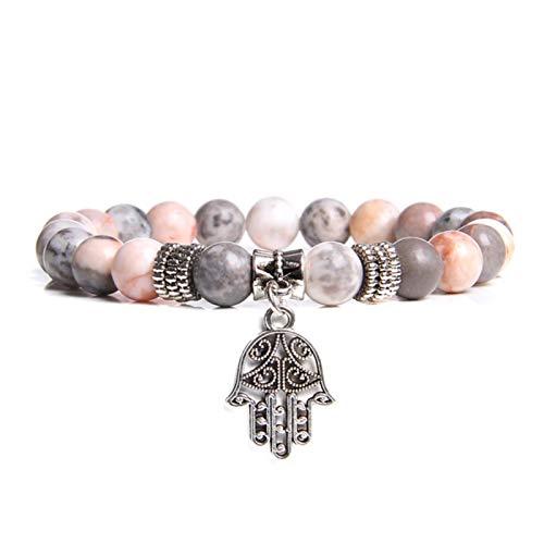 XININ Pulsera hecha a mano de piedra natural de loto Ohm Buda con cuentas de piedra de cebra rosa Lotus Charm pulsera para mujeres hombres yoga joyas regalos