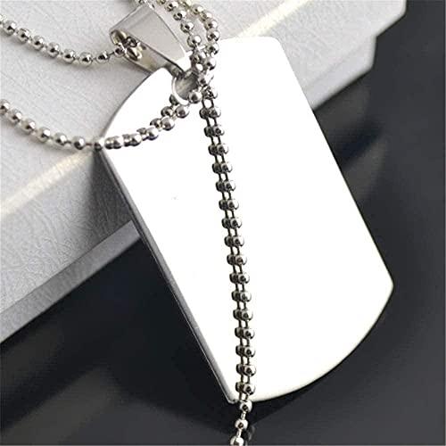 Yiffshunl Collar Collar de Moda Simple Acero Inoxidable para Perros Collar de Cadena de Bolas en Estilo T Estilo Militar con Divisor Joyería de Regalo para Hombres