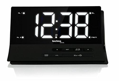 Technoline Réveil Radio, WT 482 Designer Noir 17,4 x 7,6 x 10,2 cm