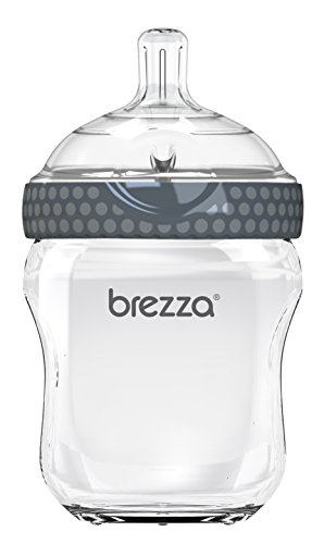 Baby Brezza Two Piece Natural Glass Bottle with Lid - Ergonomic, Wide Neck Design Makes it The Easiest to Clean - Modern Look - Anti-Colic, 8 Ounce Size - 1 Bottle, Grey (BZB00203)