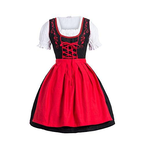 Bongossi-Trade Dirndl 3 TLG.Trachtenkleid Kleid, Bluse, Schürze, Gr. 42 schwarz rot