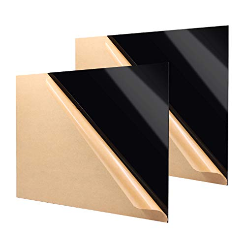 """Zuvas Black Plexiglass Sheet 11.8"""" x 15.75"""" x 1/8"""" 2 Pack Black Cast Acrylic Sheet, DIY Materials for Home Decor, Handcraft, Painting, Photography, Pet Tag, Switch Panel, Display Stand"""