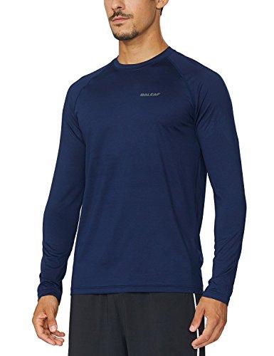 BALEAF Men's Long Sleeve Running Shirts Athletic Workout T-Shirts Navy Size L