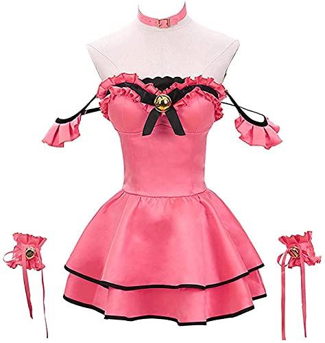 Disfraz de cosplay Date A Live Tokisaki Kurumi – Anime lindo delantal de criada vestido de Halloween Navidad para niña juego completo -M,Rosa