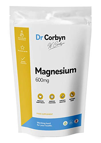Dr Corbyn Magnesium Citrate 600mg Capsules Not Tablets | Providing 400mg Elemental Magnesium Per Serving | Vegan & Vegetarian Friendly (120 Tablets)