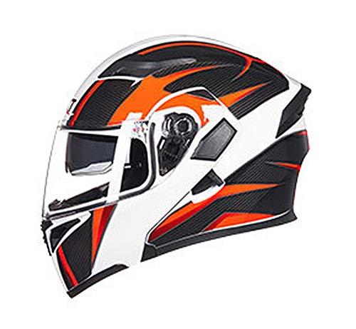 WEW Casco Modular de Motocicleta Unisex Textura de Fibra de Carbono Casco Integral Casco abatible Personalidad Adulta Cascos de cercanías con Doble Lente 4 Estaciones Casco de protección,F,54~56cm M