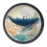 Adolescente In Sella A Una Balena 4 Pezzi Manopole per Mobili Pomelli per Cassetti Pomolo er Porte Armadi e Credenze Parete Montato Ganci