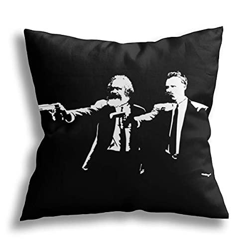 smartgood Karl Marx y Friedrich Nietzsche Fun Philosophy Throw Pillow Cover Fundas de cojín Funda de Almohada Cuadrada Decorativa para sofá Sofá Cama Silla Coche Decoración para el hogar 45x45cm