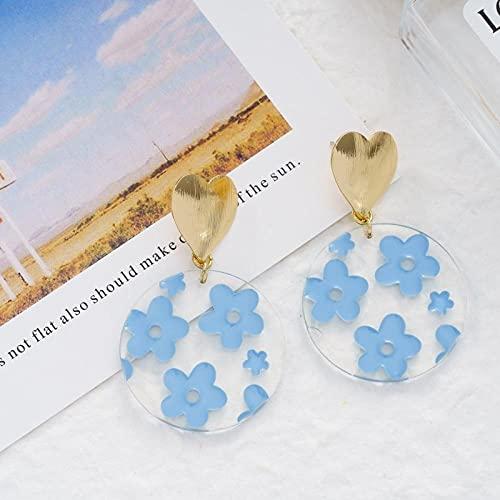 YFZCLYZAXET Pendientes Mujer Pendientes De Pétalos De Moda De Nicho para Mujer S925 Pendientes De Aguja De Plata Joyería-Azul