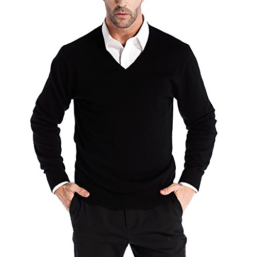 Kallspin Wool V Neck Pullover Sweater Black (XL, Black)