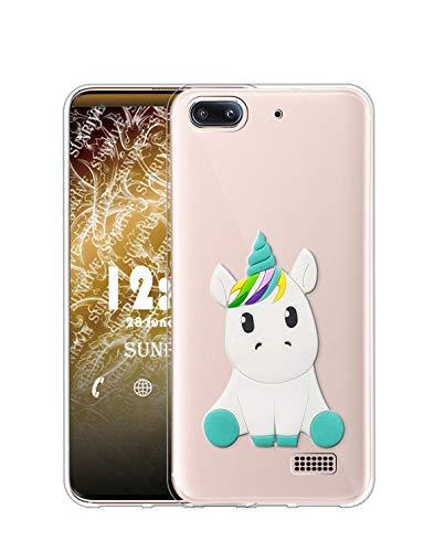 Sunrive Cover per Honor 4C/Huawei G Play Mini, Custodia 3D Case in Molle Trasparente Silicone Morbida Flessibile AntiGraffio Protettiva Back custodie(W1 Unicorno 1)