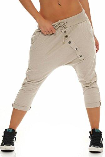 Malito Damen Kurze Hose mit Knopfleiste   Chino Hose in Unifarben   Baggy zum Tanzen   Sweatpants - Trainingshose 8015 (beige)