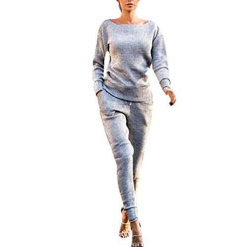 Womens Tracksuit Casual Plain Rib-Knit Pullover Sweater Top & Long Pants Pocket Set 2 Piece Outfits  - http://coolthings.us