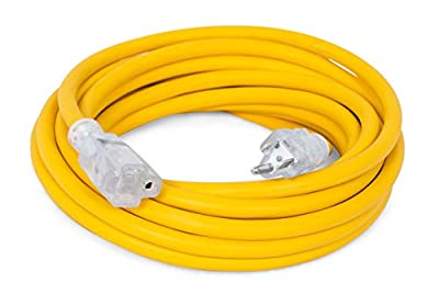 Internet's Best Extension Cord with LED End (Yellow) Outlet Outdoor Indoor Rugged Heavy Duty Lighted Grounded Power Cords