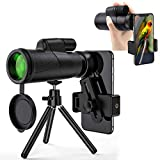 12X50 Monocular Telescope, Portable High Definition 50mm IPX7 Waterproof Shockproof Monocular W/Smartphone Holder Tripod, FMC BAK4 Prism for Wildlife Bird Hunting Camping Secenery