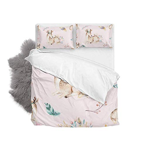 Cute Baby Deer Soft Quilt Bedding Set Duvet Cover with 2 Pillowcases Set 3 Pieces 230 x 220 CM, King