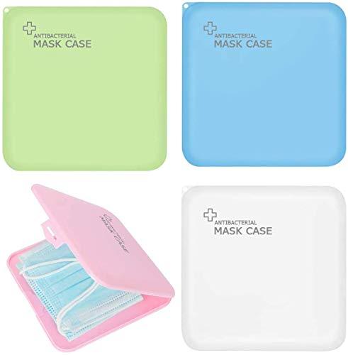 Aufbewahrungstasche für Masken, 4 Stück Aufbewahrungsbox für Masken Wasserdicht Staubdicht, Maskenbox zur Vermeidung von Maskenverschmutzung Perfekt für Unterwegs Schule Büro (Grün, Weiß, Rosa, Blau)