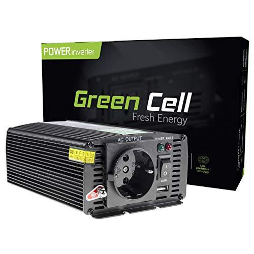 Green Cell® 300W/600W Onda sinusoidal modificada Inversor de Corriente Power Inverter DC 12V AC 220V, Transformador de Voltaje para Coche con Puerto USB y Pinzas de conexión a batería