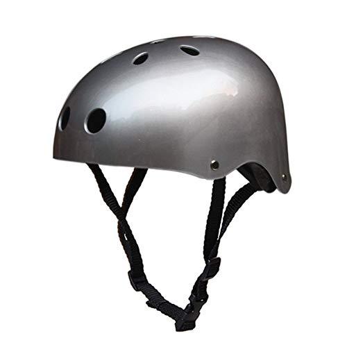 QZPDP Kind Skateboard-Helm,Kinderhelm Roller, fahrradhelm, Schutz Kopf, Einstellbarer Kopfumfang, geeignet für Roller ski ausgefallene fahrräder,Silber,55~57cm
