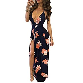 VANCOL Women's Sexy Spaghetti Strap V-Neck Backless Slit Beach Floral Print Maxi Dress