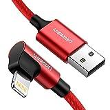 UGREEN Câble Chargeur iPhone iPad Coudé 90 Degrés en Nylon Tressé Câble Lightning vers USB...
