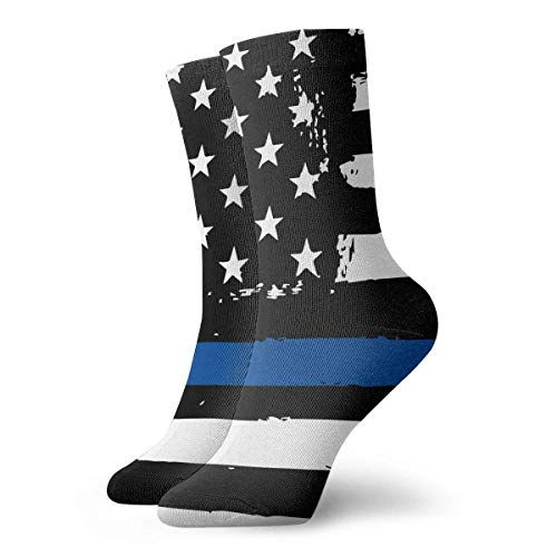 QUEMIN Spring Police Thin Blue Line USA Flag Calcetines deportivos cómodos para hombres y mujeres (30 cm / 11,8 pulgadas)