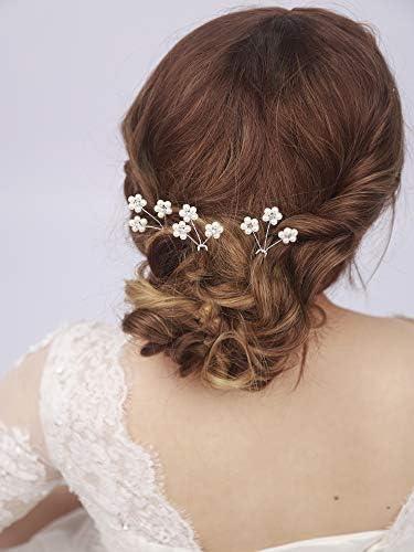 Kercisbeauty Wedding Cute Pearl Rhinestones Blossom Flower Hair Pins for Bride Bridal Headpiece product image