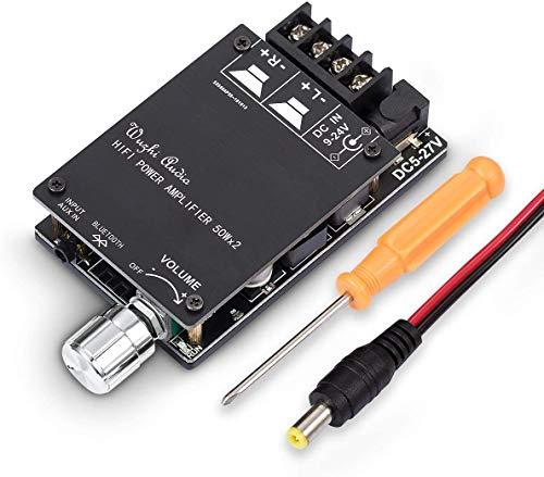 100W Bluetooth 5.0 Power Amplifier 2 Channel Hi-Fi Stereo Audio Amp Home Desktop Car Speaker DC8-24V