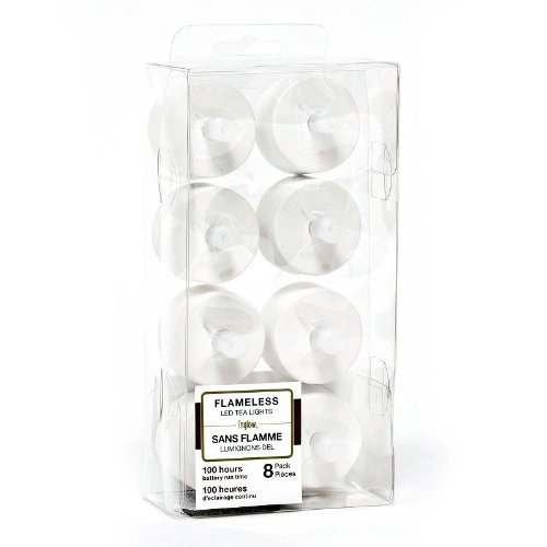 8x Candle Impressions Led Teelicht Teelichter flackernd mit Flackereffekt + inklusive Batterien; Höhe 2cm; Durchmesser 3.5cm; Betriebszeit 100 Stunden pro Teelicht; (Kunststoff Teelicht, Plastik Teelicht); Flammenlose Teelichter, LED Kerze / geeignet für Windlicht, Tischlicht, Tischdekoration, Batteriebetriebene Kerze, Elektrische Kerze