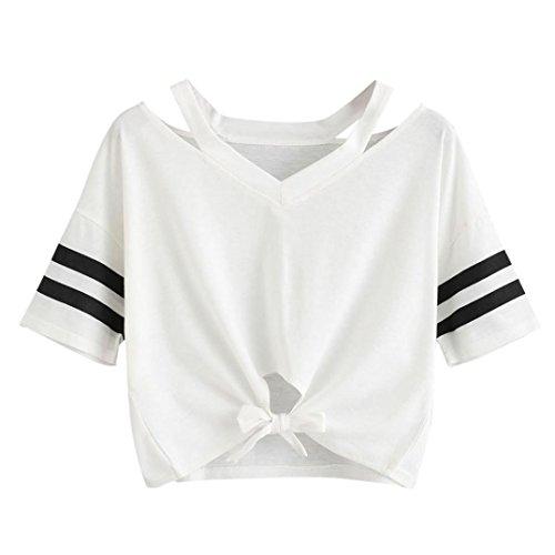 LuckyGirls Sommer Tops Damen Basic Shirt Rundhals Kurzarm T-Shirt Kurzbluse Vorderseite Krawatte Oberteile (Weiß, EU-36/CN-S)