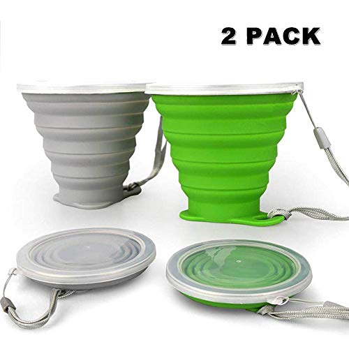 JBER Silicone Collapsible Travel Cup, Silicone Folding Camping Cup with Lids Expandable Drinking Cup Set BPA Free Reusable Portable Graduated for Outdoor Hiking Travel