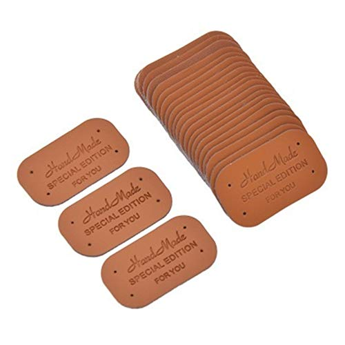 ESORST Clothing Tags Sewing 24PCS DIY Sewing Craft PU Leather Labels Tags For Handmade Garment Bags Shoes Decoration Materials Supplies for DIY Handmade Clothing Accessories (Color : Brown)