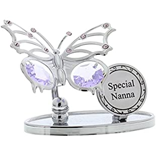 Crystocraft Keepsake Gift Ornament - Special Nanna Butterfly Plaque with Swarvoski Crystal Elements:Amedama