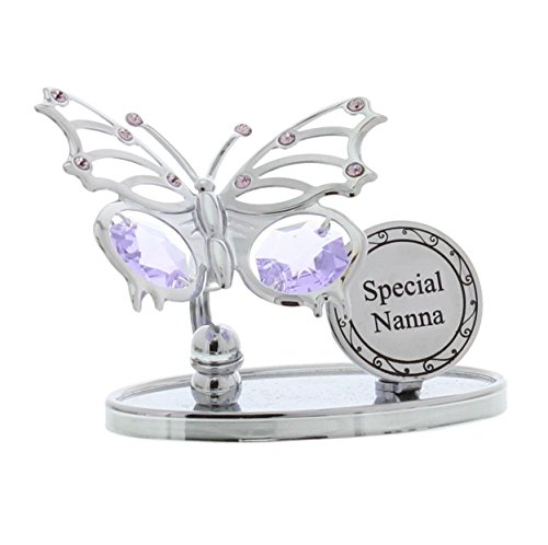Crystocraft Keepsake Gift Ornament - Special Nanna Butterfly Plaque with Swarvoski Crystal Elements