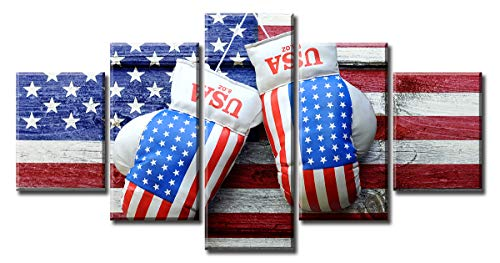 BLINFEIRU 5 Piece Framed Canvas Wall Art Decor - Sport Boxing Gloves Hanging on Wooden Board with Painted American Flag Pictures Painting Framed Artwork Gift for Game Room Gym Walls Decorations