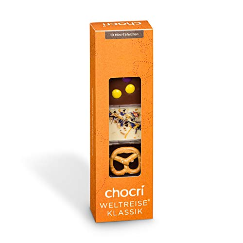 chocri'Kleine Weltreise®' 10 Mini-Schokoladentafeln in einer Geschenkbox - Fairtrade & handbestreut mit Zutaten aus aller Welt - perfekt als Geschenk für jeden Anlass, zum Mitbringen oder Naschen