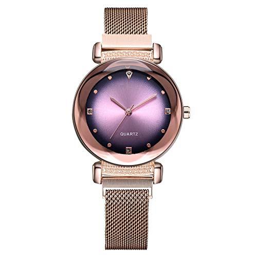 Frauenuhr Schlankes Minimalistisches Zifferblatt Aus Quarz Mit Magnetischer Schnalle Damen Uhren Mode Einfache Diamant Dial Uhr Damenuhr FriendGG (Rotgold)